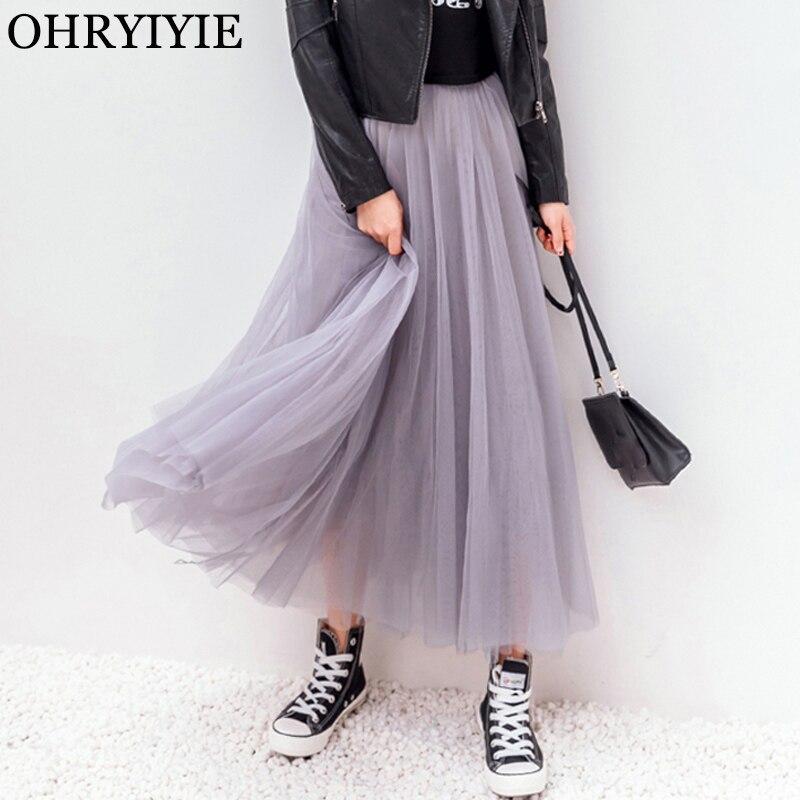 OHRYIYIE 2018 Spring Summer Vintage Skirts Womens Elastic High Waist Tulle Mesh Skirt Long Pleated Tutu Skirt Female Jupe Longue