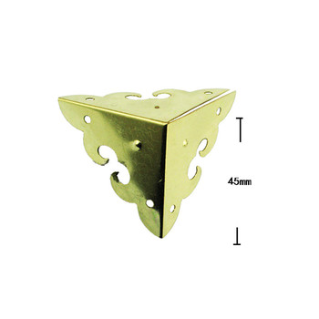 Wholesale Cover Case Box Corners For Furniture Decor Triangle Flower Side,Wooden Box Corner,Bronze Yellow/Gold Color,45mm,200Pcs