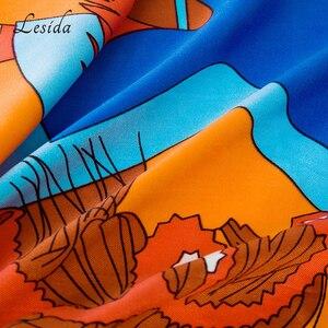 Image 5 - 2020 Big Square Joker Silk Print shawl Ladies New Fashion Cartoon Shawl Scarf Twill Blue scarfs Wholesale 130*130CM Wholesale