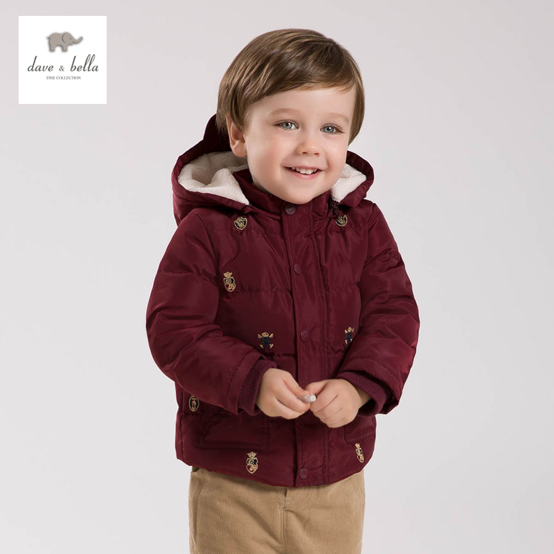 ФОТО DB4663 dave bella winter baby boy down feather coat kids plum embroidery fashion coat