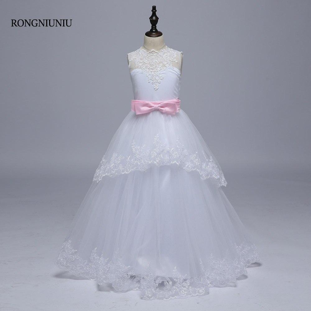 2018 fleur fille robes robe de bal dos ouvert dentelle Tulle petite fille mariage Communion robes rose arc