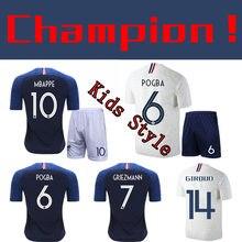 3df92afbaee8a NIÑOS 2 estrella Francia hogar lejos fútbol de manga corta Camiseta +  shorts 2 piezas niños deportes trajes
