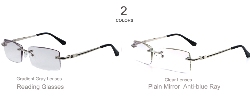 c95ac77a7111 Rimless Glasses Reading Male Eyeglasses Readers Anti Fatigue Gray Lenses  Presbyopic Glasses 1.0 1.5 2.0 2.5 3.0 Diopter 112.