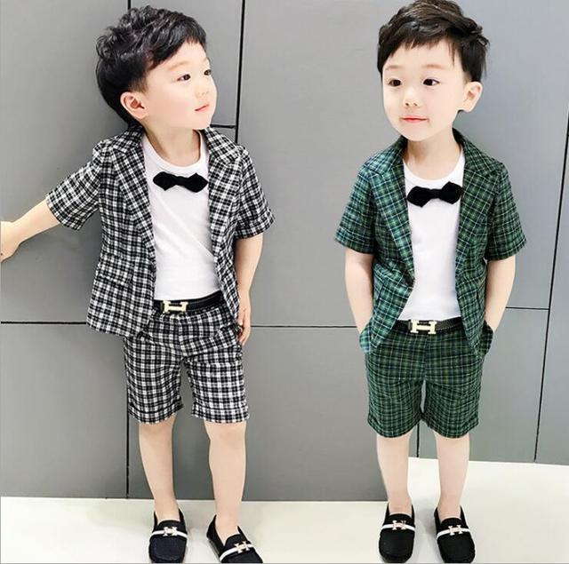d6b33ec65a7 2-9 age new 2018 summer plaid boys clothing set 2pcs kids shirt+pant clothes  sets boys clothing sets summer boys clothing 2018