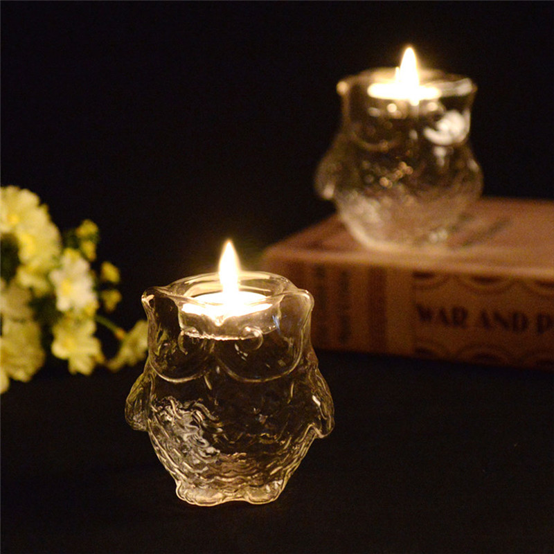 Owl Shape Crystal Candle Holder Candlestick With Candle Home Decoration Lighting Dinner Valentine's Day Party