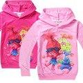 2017 Meninas Primavera Outono Crianças roupas de bebê 4-10 anos dos desenhos animados Casaco de troll Zipper Hoodies Crianças Camisola Fina H445