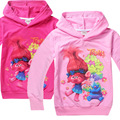 2017 Muchachas del Resorte del Otoño Niños ropa de bebé 4-10 años de dibujos animados troll Cremallera Escudo Niños Hoodies Delgados Sudadera H445