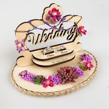 1pcs Engagement birthday Party decoration custom double wedding rings box rustic wood flower design ring pillow
