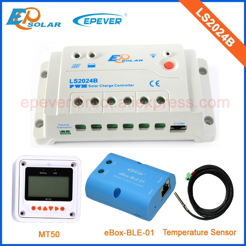 PWM solar regulator LS2024B with white MT50 remote meter and accessories for 12v24v auto type