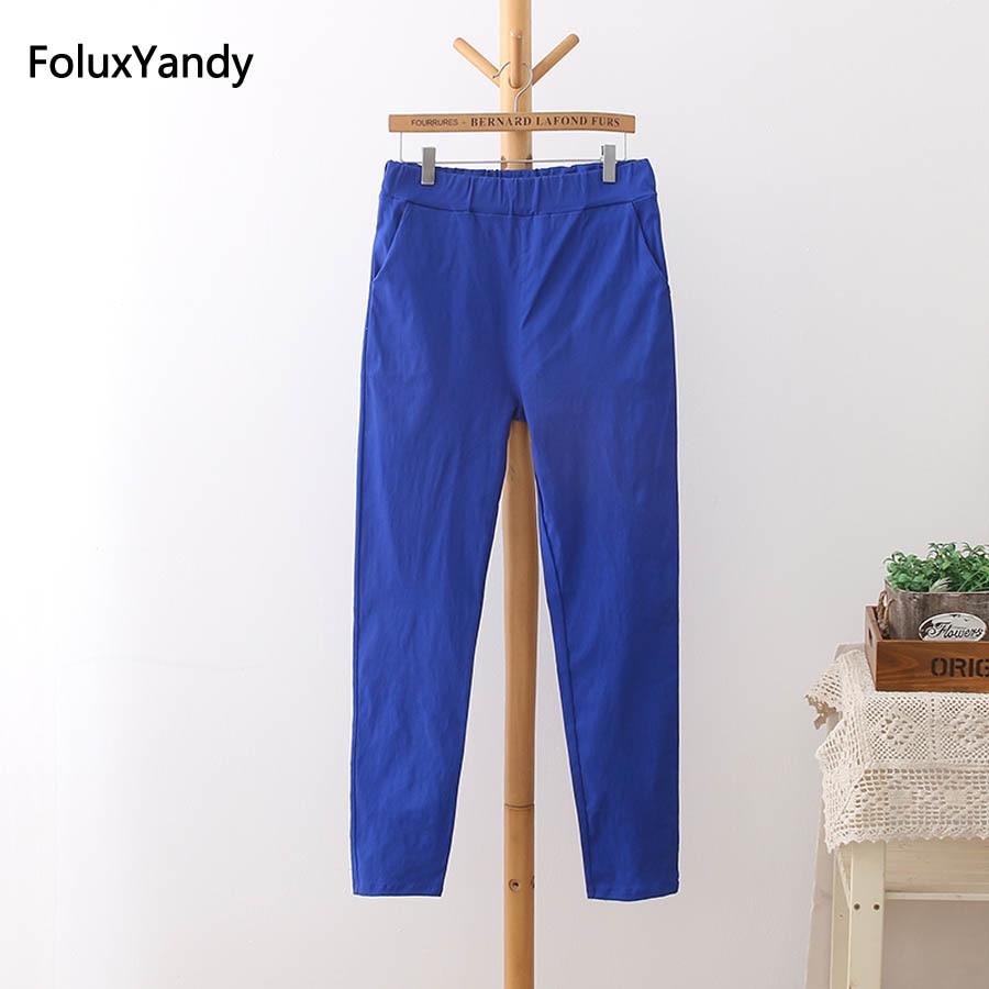 6 Renkler Yüksek Bel Pantolon Kadın Artı Boyutu 3 4 5 XL Rahat İnce Elastik Kalem Pantolon Pantolon Siyah Beyaz yeşil Mavi Kırmızı HS11