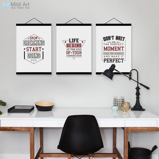 Vintage Retro Typography Inspirational Quotes Wood Framed Nordic
