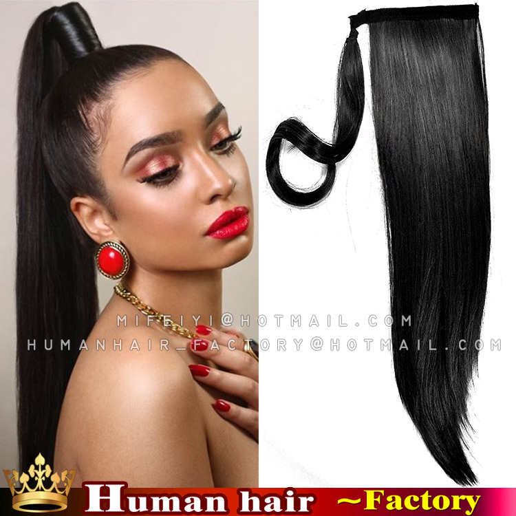 Remy Human Ponytails Straight Indian Hair 100 120g Human Real Hair