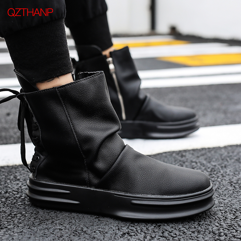 Motorcycle Boots Men's Shoes Fashion Elevator Male Martin Boots High-leg Knee-high Fashion Punk Rock Outdoor Motorcycle Boats Riding Men Denim Shoes Always Buy Good