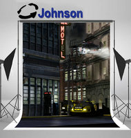 street Police Hover Car Stories Below Taxi Cabs Hover Parked Building backdrop Vinyl cloth Computer print wall background
