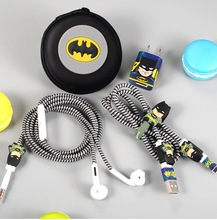 1 Set Cartoon USB Cable Earphone Protector Set With Earphone Box Cable Winder Stickers Spiral Cord Protector Suitable For Iphone