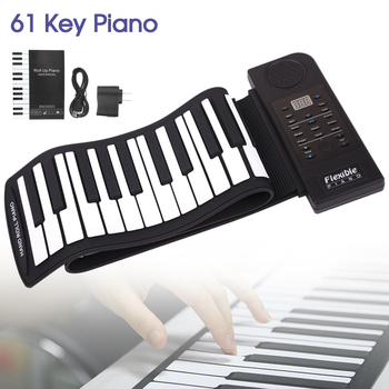 Portable 61 Keys Roll Up Flexible Silicone Piano USB Electronic MIDI Keyboard Organs