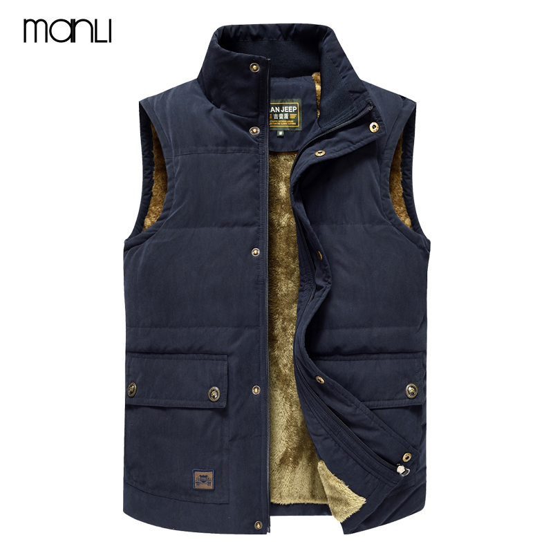 MANLI 2018 Winter Trekking Hiking Vest Men Jacket Sleeveless Coat Men Warm Jacket Jeep Vest Coat Fleece Army Green Waistcoat fashion cotton jacket coat for men army green l