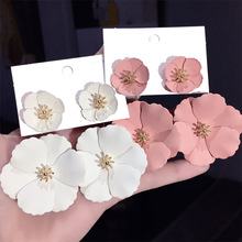 Boho Big Flower Earrings For Women 2019 New Double Layers Statement Pendientes Femme Jewelry White Pink Yellow Red Black