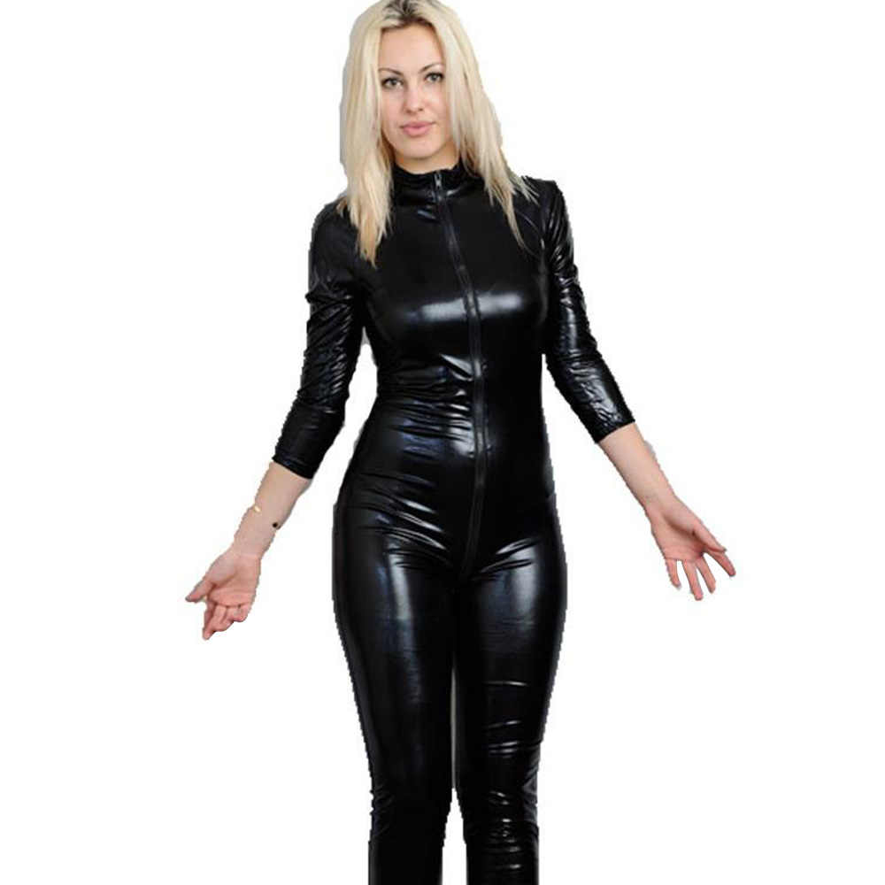 bf940c660b55 ... Sexy Black Faux Leather Wetlook Catsuit PVC Latex Bodysuit Front Zipper  Open Crotch Stretch Clubwear Erotic ...