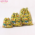 LIFETALK 3PCS/SET Home Organizer Cotton Storage Bags Minions Christmas Party Gift Candy Drawstring Bags