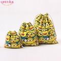 LIFETALK 3PCS/SET Home Organizer Cotton Storage Bags Minions Christmas Party Gift Candy Drawstring Bags