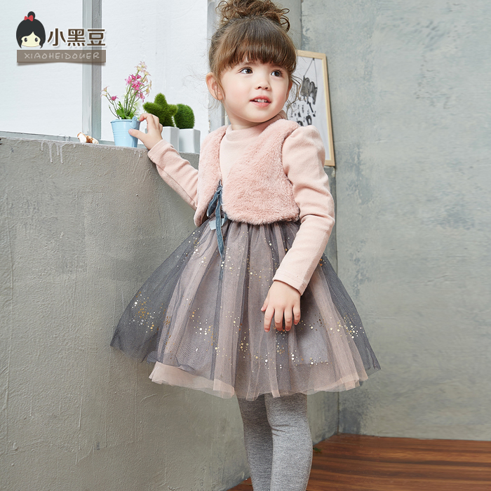 2016 New Spring Brand Girl Dresses Faux Fur Children Clothing Princess Party style Dress for Girls