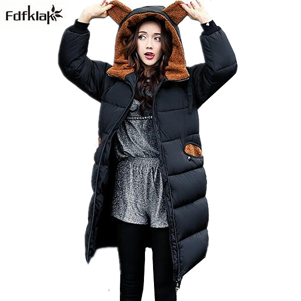 Women winter coat long thickening warm parka femme hooded cotton-padded jackets and coats big yard winter outerwear female
