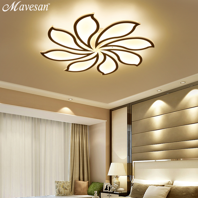 2018 plafonniers Moderne Led Acrylique pour salon chambre AC85-265V Nouveau Blanc moderne Plafond Lampe Appareils encastré