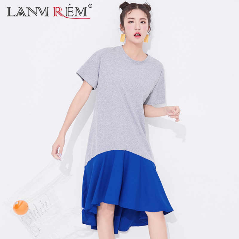 LANMREM 2018 New Summer Fashion Tide Gray Round Collar Short Sleeve Patchwork Ruffles Hit Color Casual Woman Dress SA688