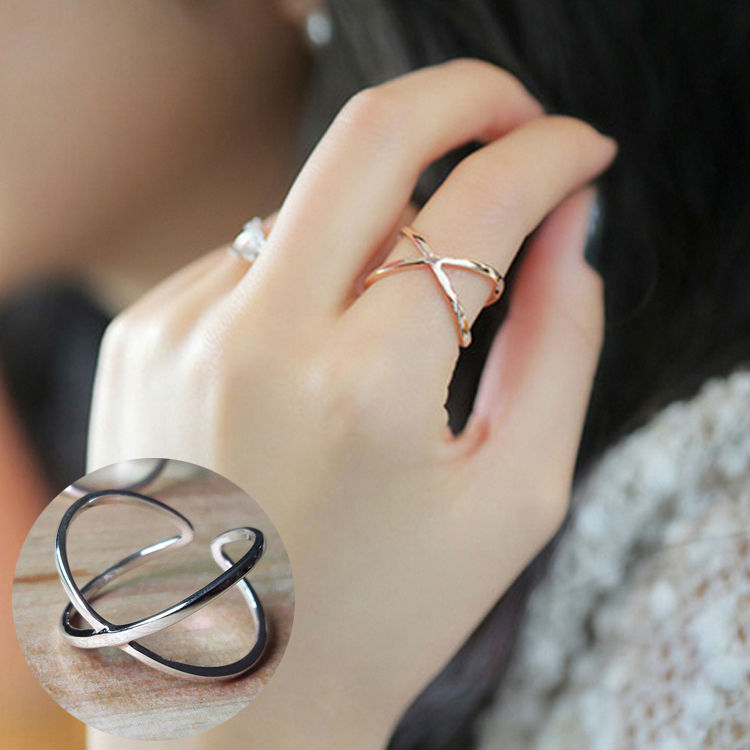925 Sterling Silver Ring Fashion Simple Smooth Fine Ring Big Letter X  crossover Ring For Women Jewelry 925 sterling silver ring sterling silver  ringsfashion rings for women - AliExpress