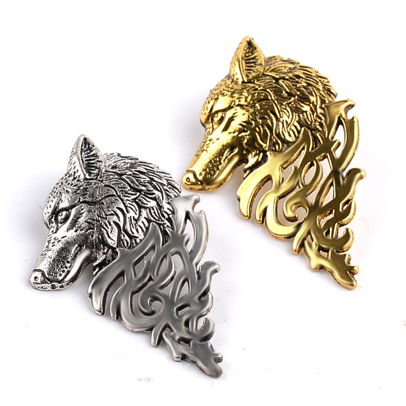 Vintage Ice skate wolf Head Collar Brooches For Women Broches Jewelry Fashion Lapel Pin Men Mujer Animales gifts free shipping