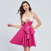 Tanpell аппликации homecoming платье Фуксия рукавов выше колена line платье женщин кнопку назад Вечерние пользовательские homecoming платья