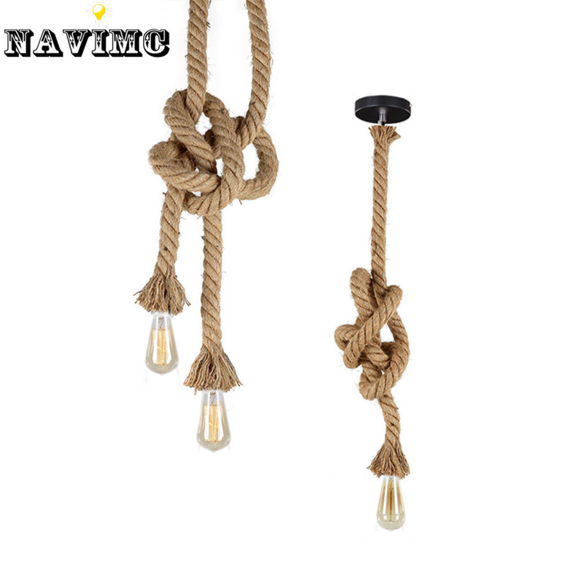 Retro Vintage Rope Pendant Light Lamp Loft Creative  Industrial Lamp Edison Bulb American Style retro vintage rope pendant light lamp