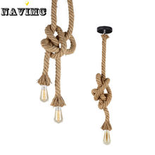 Retro Vintage Rope Pendant Light Lamp Loft Creative Industrial Lamp Edison Bulb American Style(China)