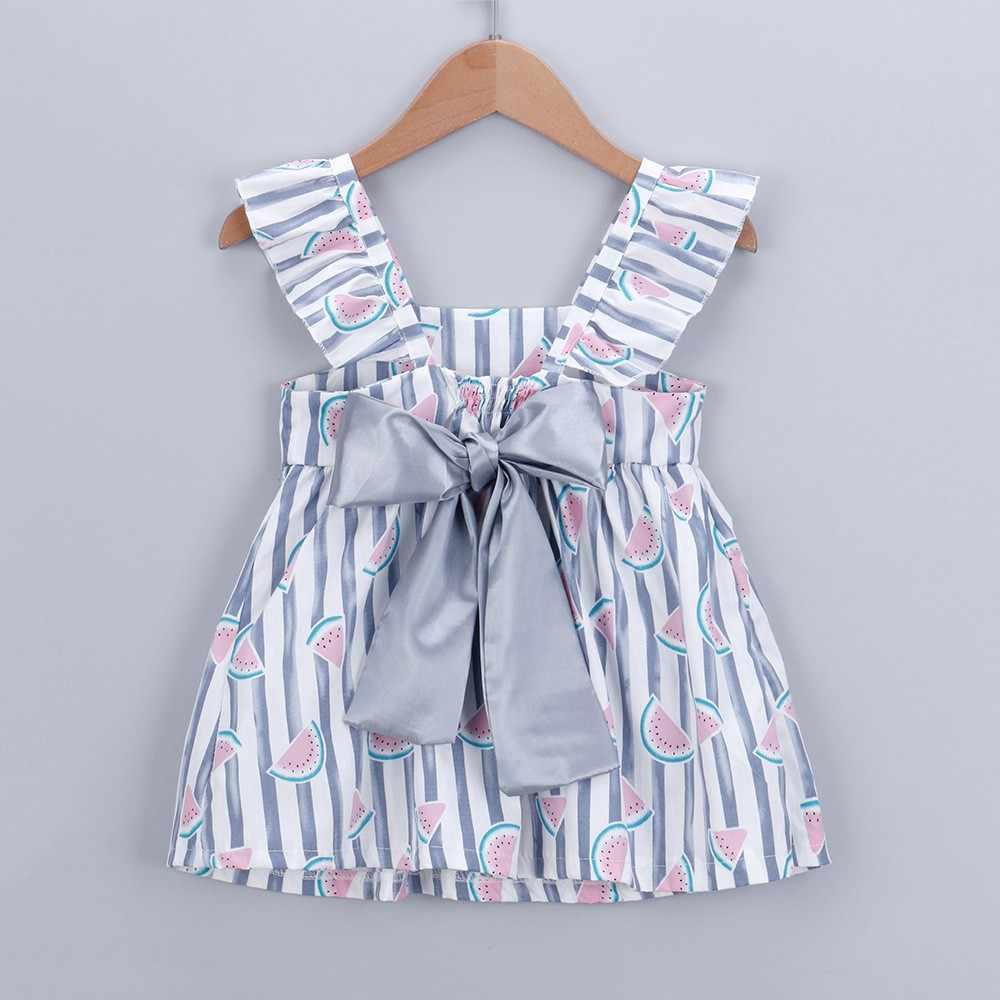 Летнее платье для маленьких девочек, модель 2019 года, Повседневное платье принцессы в полоску с принтом фруктов и бантом на бретеляхПлатья, одежда для детей, черное платье Niemowleca