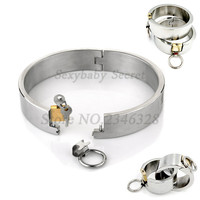 Hi Q Stainless Steel Lockable Collar Neck Handcuffs Ankle Cuffs Fetish Slave Restraint BDSM Adult Games Sex Toys For Couples