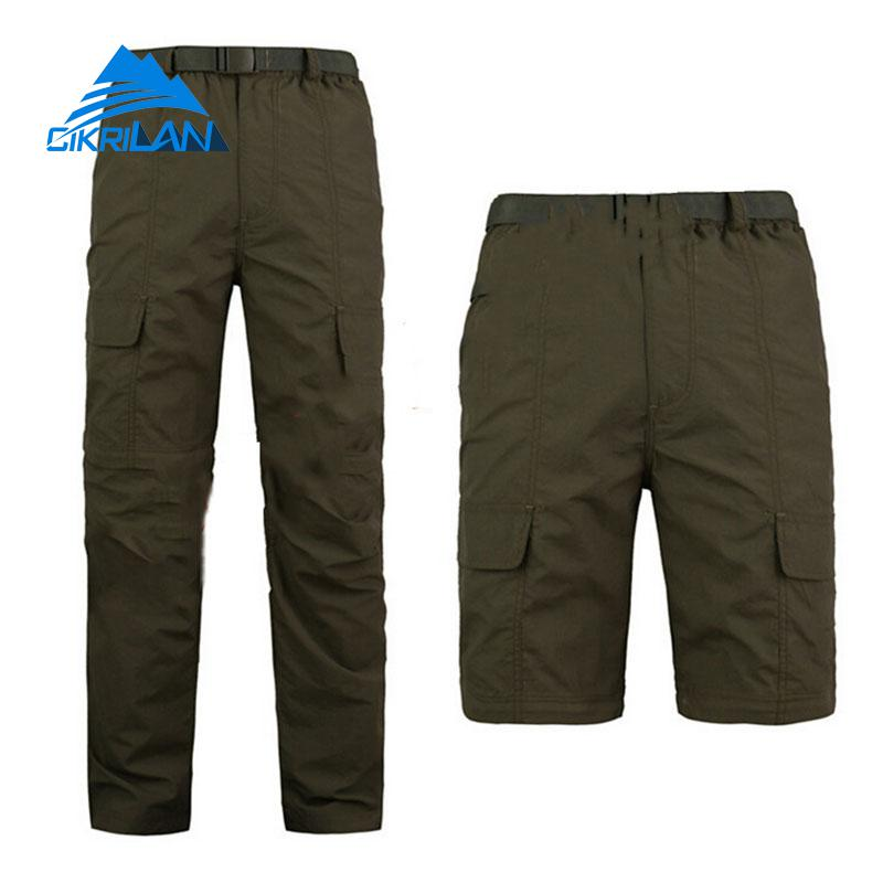 New Mens Quick Dry Zip Off Leg Outdoor Trekking Hiking Pants Men Camping Fishing Travel Trousers Army Tactical Combat Shorts