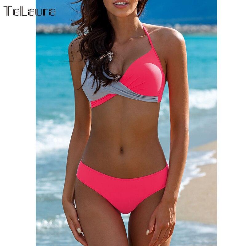 2019 Sexy Bikini Bademode Frauen Badeanzug Push-Up Bikinis Frauen Badeanzug Biquini Brazilian Bikini Set Solide Bademode Weibliche