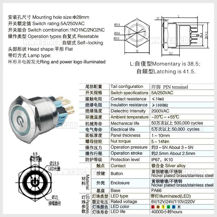 28307F Customized Ring und beleuchtete logo 22mm flachkopf taster 12 ...