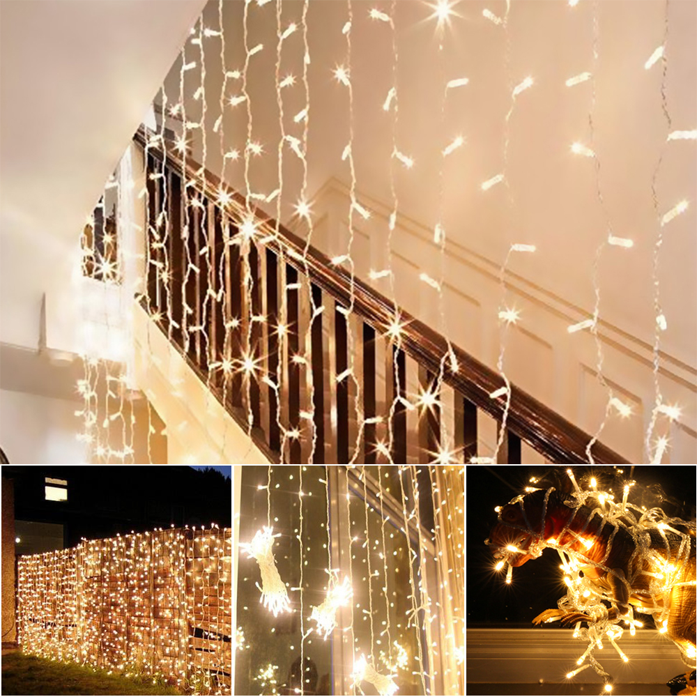 Curtain lights for weddings - Agm Led Curtain Light 3x3m 300leds Icicle Fairy String Lights Waterproof Lamp For Indoor Christmas Wedding