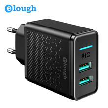 Elough Dual Usb Charger Blok 5V 2.4A Eu Plug Snel Opladen Voor Iphone Samsung Xiaomi Huawei Mobiele Telefoon Muur charger Adapter(China)