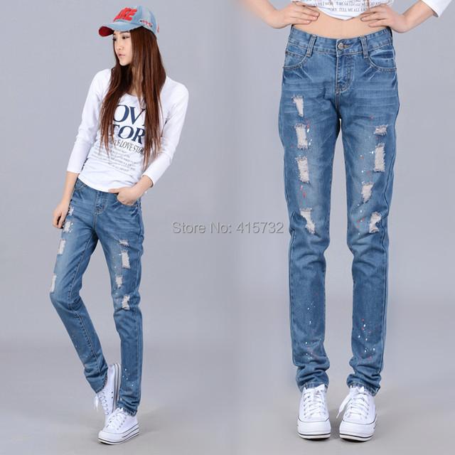 Envío Gratis 2017 Nueva Moda Tallas grandes Pantalones Harén Pantalones Largos pantalones Para Las Mujeres Con Agujero XXXXXXL Sueltos Damas Pantalones de Mezclilla Verano