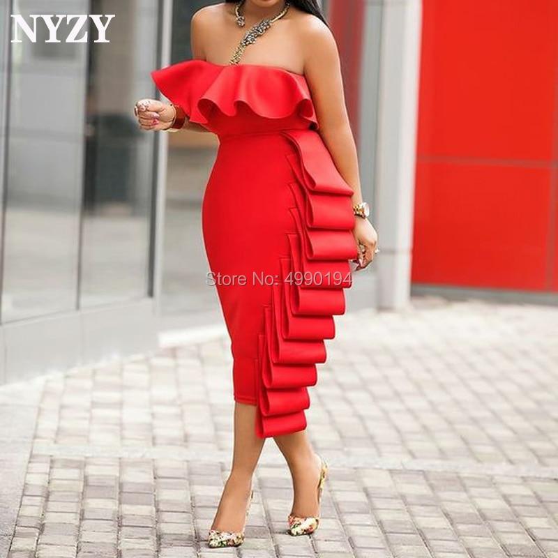 NYZY C125 Satin Ruffles Tea Length Red Robe Cocktail Dress For Wedding Party Guest Wear Vestido Coctel 2019 Abiti Da Cerimonia