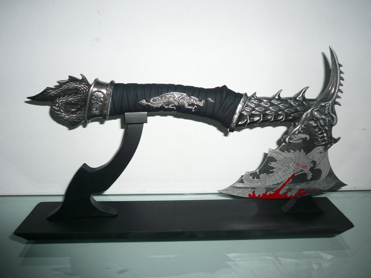 S0140 EXORCISING FIRE FLYING DRAGON AXE AX BLACK LEATHER HANDLE W/ STAND 14