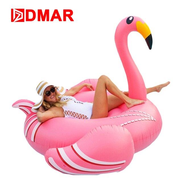 DMAR Надувное Фламинго Матрас Круг Для Плавания 190см Плавательный Круг Надувной Плавающий Плот для Бассейна Гигантский Поплавок Пляж Водные Игры Спортивные Игрушки для Детей и Взрослых