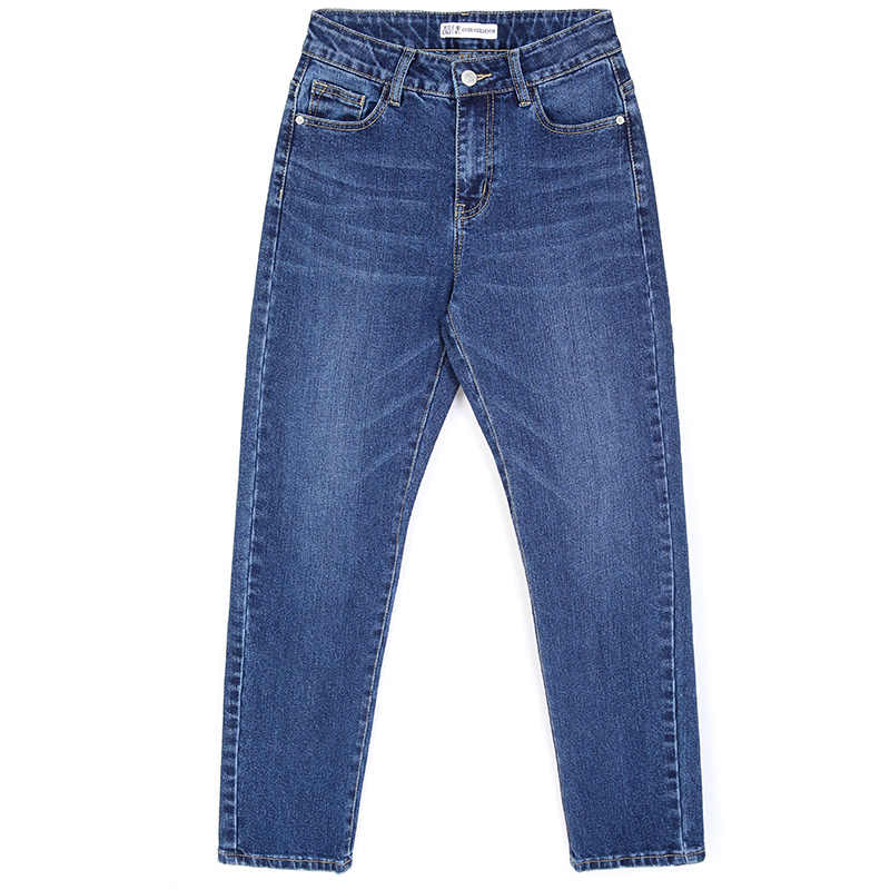 Женские классические джинсы LEIJIJEANS, голубые хлопковые свободные брюки из денима, полной длины, джинсы-бойфренды со средней посадкой, большие размеры, весна-лето