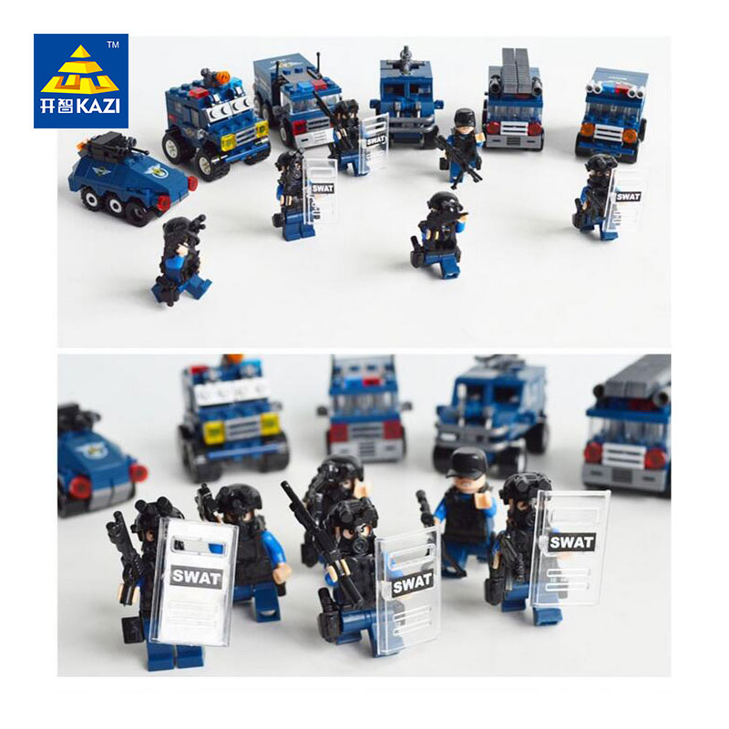ФОТО KAZI Riot Special Forces Tactics City SWAT Armored Vehicle Police Car Jeep Building Block Sets Educational Toys For Children