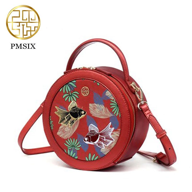 Fashion national embroidery women handbag 2017 Pmsix new style fashion casual ladies small  round shoulder bag red P140017 2016 summer national ethnic style embroidery bohemia design tassel beads lady s handbag meessenger bohemian shoulder bag