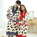 Thicken flannel robe lovers men and women long - sleeved autumn and winter home clothing pajamas couple coral cashmere bathrobes