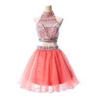 Luxury Crystal Short Prom Dresses Sexy Coral Black Dark Silver 2 Piece Short Prom Dresses 2016 Vestido de Festa Curto
